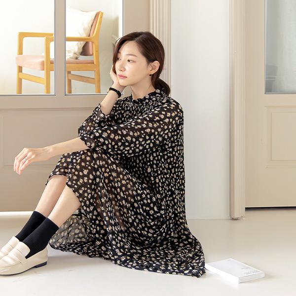 misscandy-[no.21040 아코디언주름 플로럴 원피스(허리끈세트)]♡韓國女裝連身裙