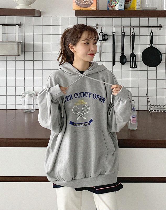 loloten-테니스 캥거루후드티♡韓國加大碼上衣