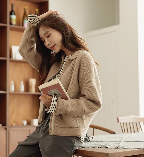 justone-티키 카라넥 와플니트 집업가디건♡韓國女裝外套