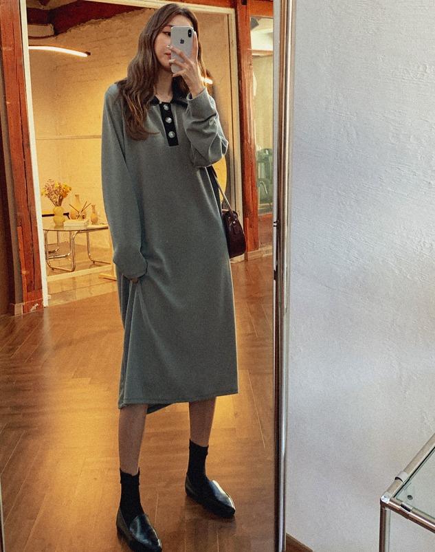 loloten-선레이즈 카라니트 원피스♡韓國女裝連身裙