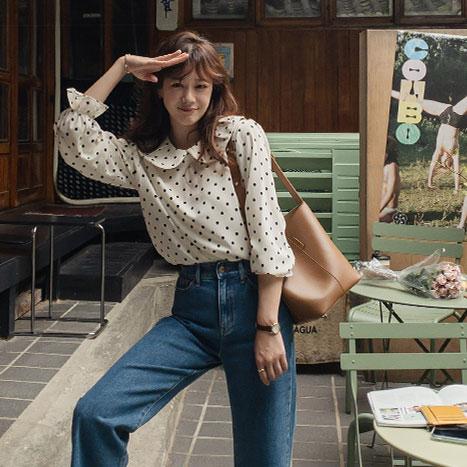 leelin-[소녀 둥근카라 도트 블라우스 [size:F(55~66)] ]♡韓國女裝上衣