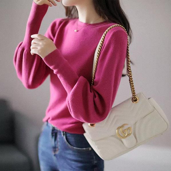 fashion-full-아델린 라운드 퍼프 니트(TIME SALE 20%)♡韓國女裝上衣