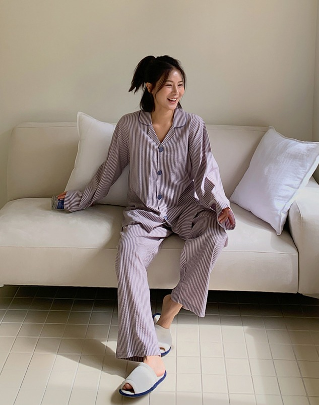 loloten-어니론 스트라이프 파자마 세트♡韓國加大碼褲
