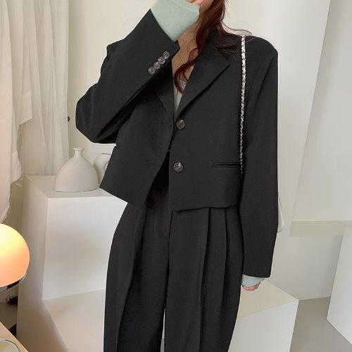 jnroh-아보 테일러 투버튼 오버핏 크롭 자켓(모카,블랙)-셋업 세트별도구매-♡韓國女裝外套