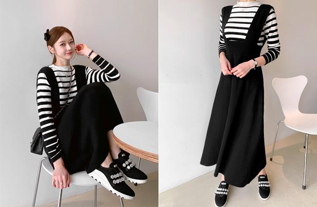 minsshop-탑+스커트 SET 쿠키 니트 원피스세트 (주문대박♥)♡韓國女裝連身裙套裝