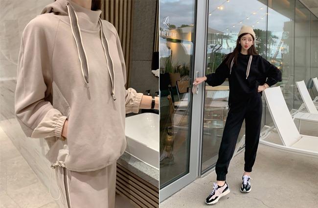 minsshop-탑+팬츠 SET 샵인정 후드 트레이닝세트♡韓國女裝套裝