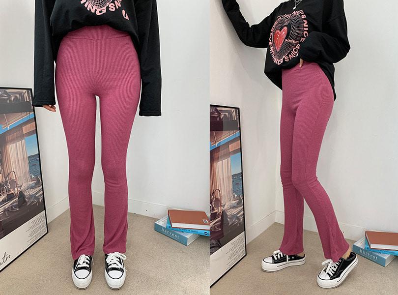 uuzone-예쁜 슬림핏 어필 데일리팬츠! 루보밴딩팬츠 팬츠 밴딩팬츠 골지팬츠 밴딩바지 부츠컷 부츠컷팬츠 데일리팬츠 데일리룩 꾸안꾸룩 캐쥬얼룩♡韓國女裝褲