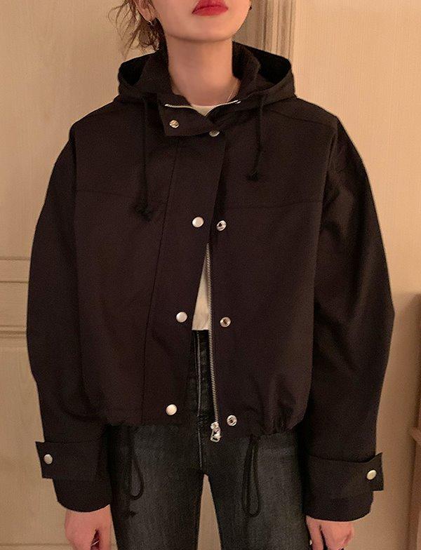 browncode-black hood jumper♡韓國女裝外套