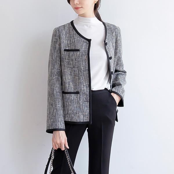 misscandy-[no.21046 노카라 배색단추 트위드자켓]♡韓國女裝外套