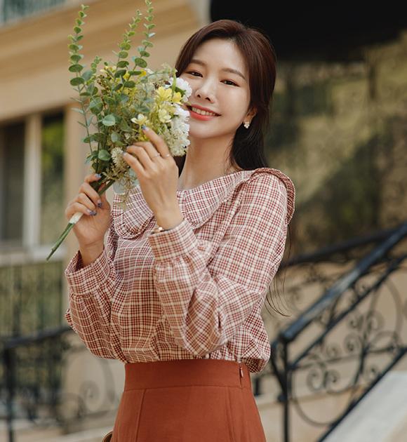 justone-슈가룬 빅카라 체크블라우스♡韓國女裝上衣