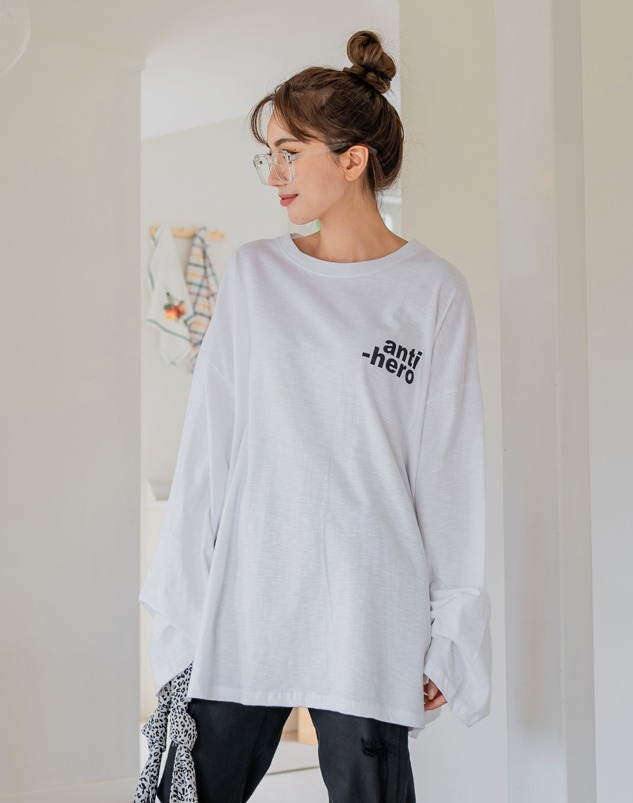loloten-휴던앤티 오버핏티♡韓國加大碼上衣
