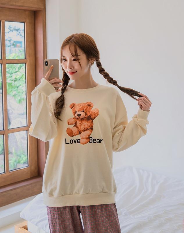 loloten-러브베어 맨투맨 티셔츠♡韓國加大碼上衣