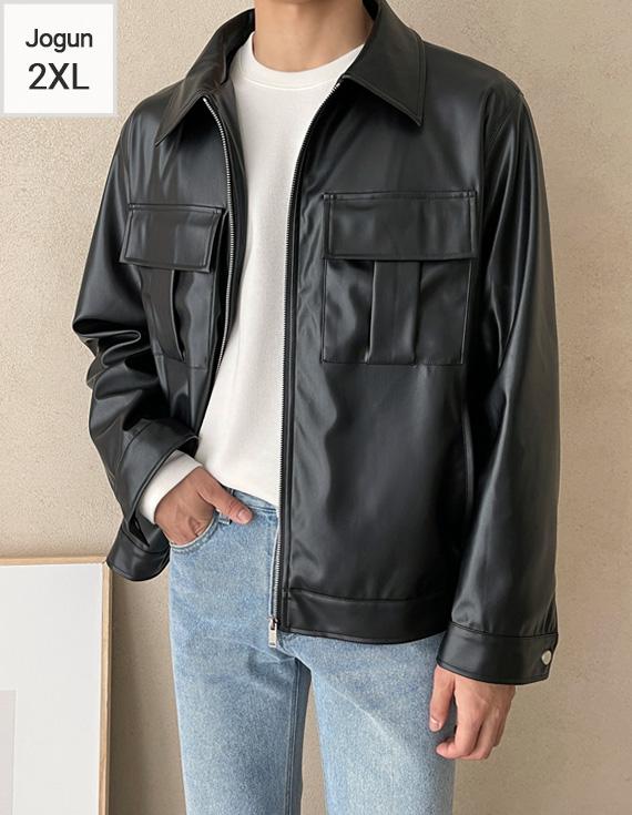 jogunshop-[비건레더 투포켓 집업 자켓M~2XL(95~115)]♡韓國男裝外套