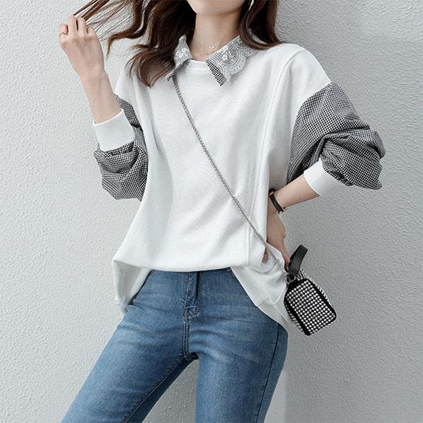 fashion-full-루멘 카라 레이어링 맨투맨(TIME SALE 20%)♡韓國女裝上衣