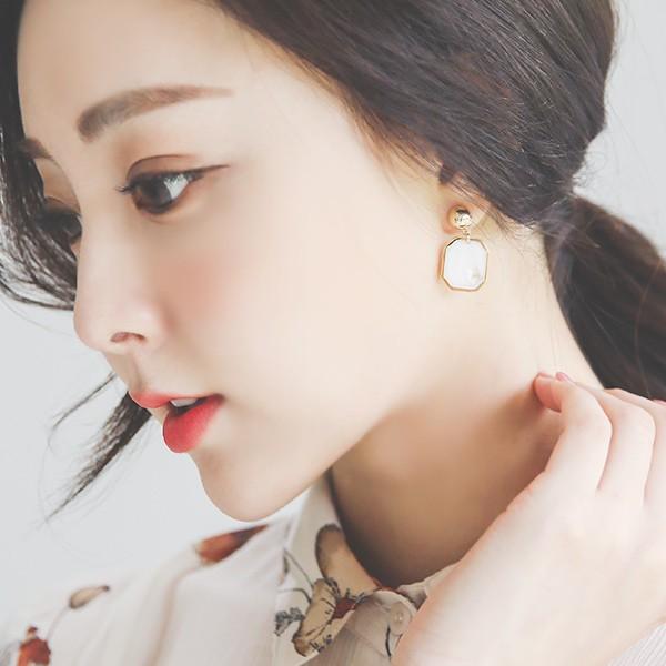 ode-[마블 옥타곤 골드 귀걸이]♡韓國女裝飾品