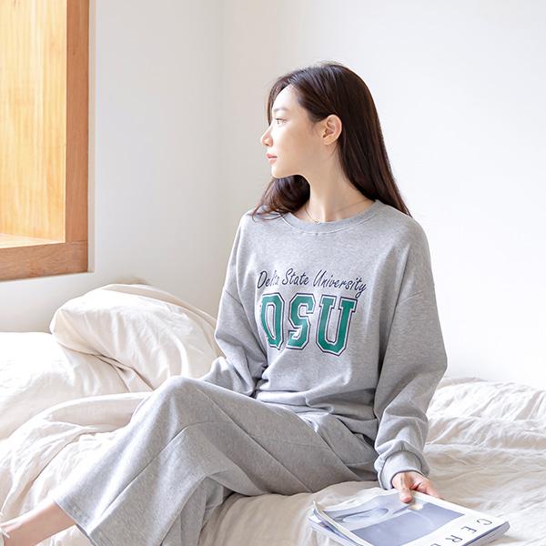 misscandy-[no.21047 레터링맨투맨+와이드 밴딩팬츠SET]♡韓國女裝上衣