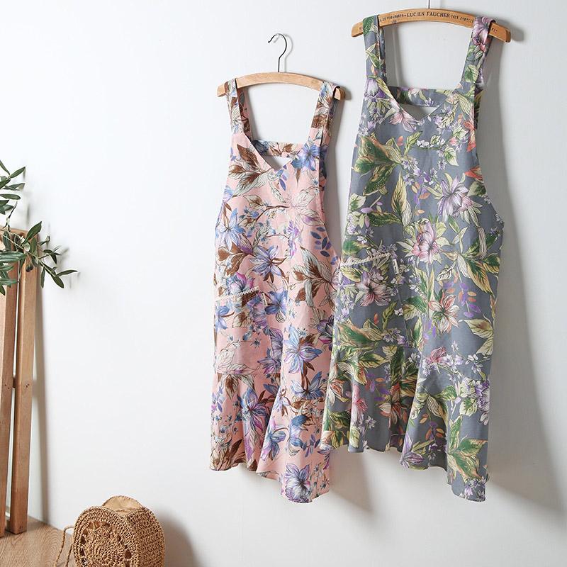 cozycotton-凱特花防水圍裙(黃色/灰色/粉色)♡韓國家品廚具
