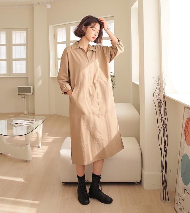 roompacker-룸페커 [콜린 반오픈 카라 원피스]♡韓國女裝連身裙