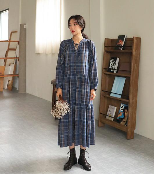 roompacker-룸페커 [어텀 캉캉 루즈핏 체크원피스]♡韓國女裝連身裙