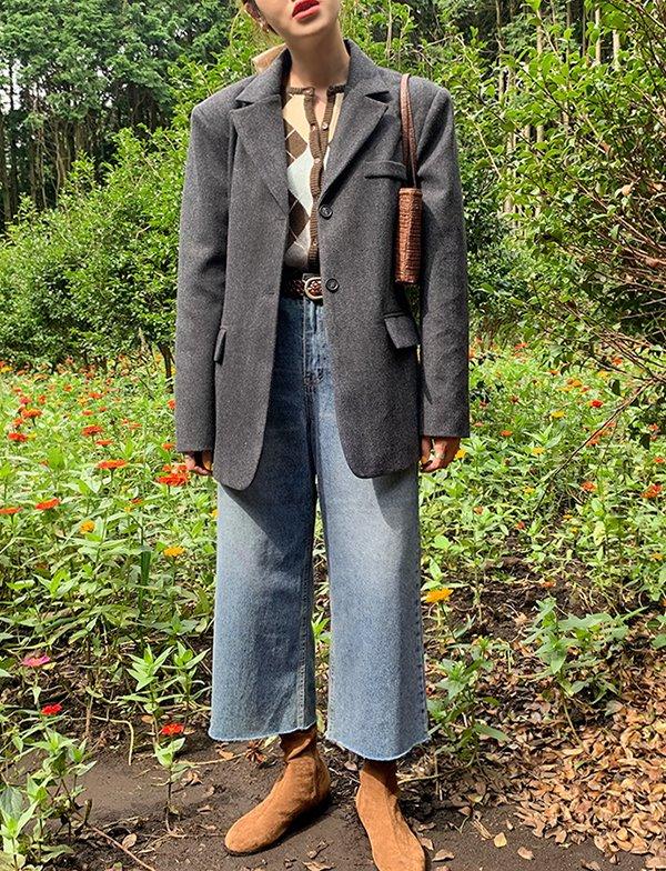 browncode-wide crop jeans♡韓國女裝裙