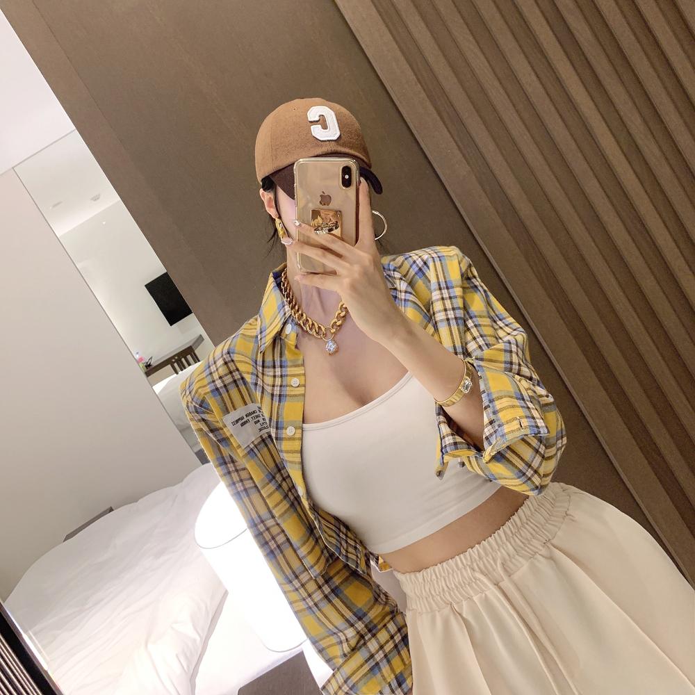 uinme-버터 체크 크롭 셔츠 - [ 2color ] - 유인미버터 체크 크롭 셔츠 - [ 2color ] - 유인미♡韓國女裝上衣