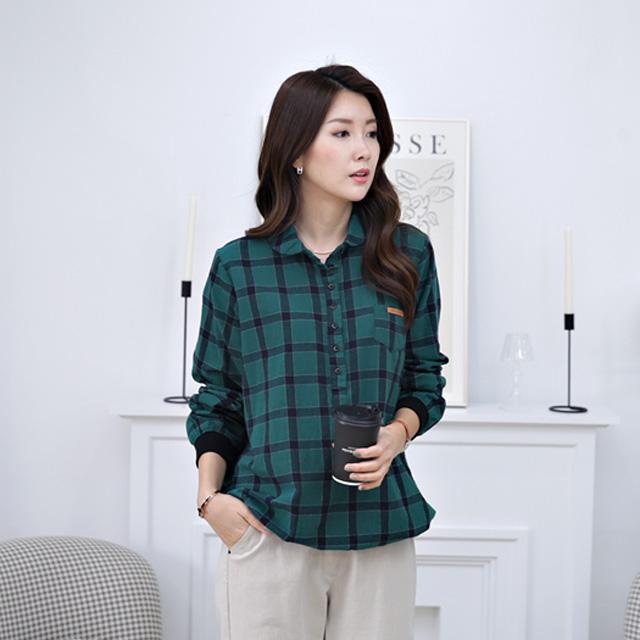 tiramisu-348엣지카라체크남방♡韓國女裝上衣