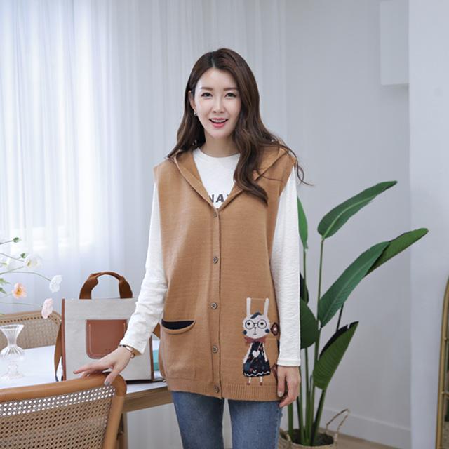 tiramisu-364패치후드니트조끼♡韓國女裝外套