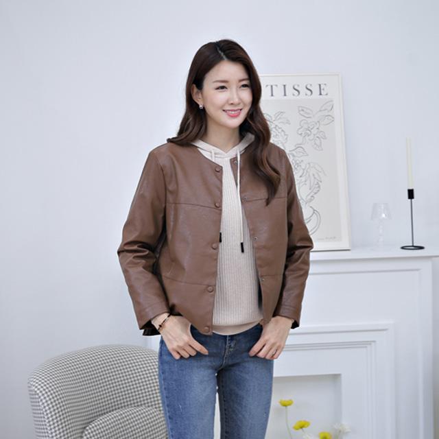 tiramisu-7681페이크가죽자켓♡韓國女裝外套