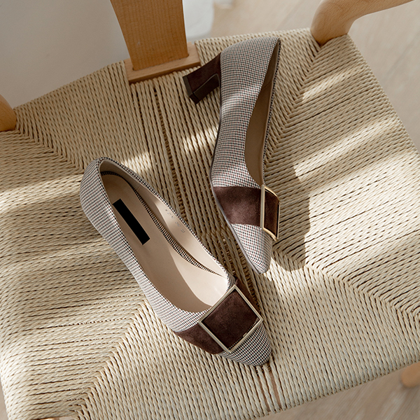 canmart-[니아체크금장펌프스 C090951]♡韓國女裝鞋