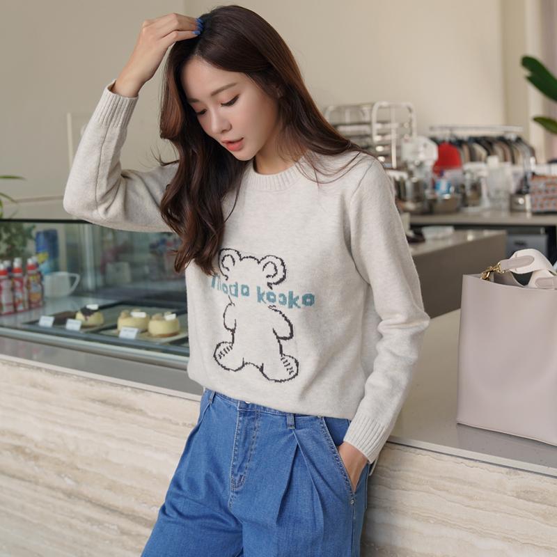 clicknfunny-릿베어 라운드니트♡韓國女裝上衣