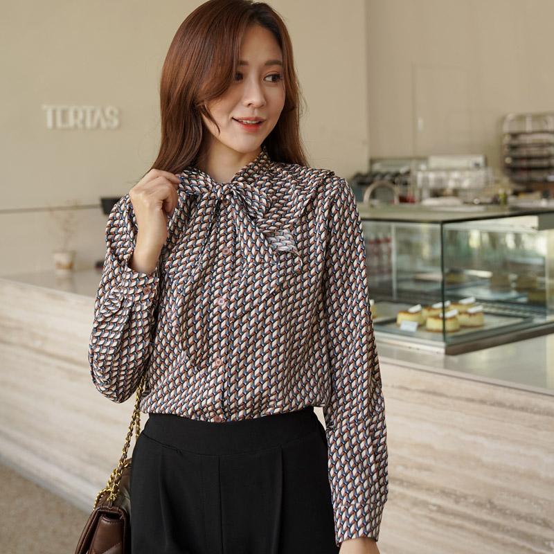 clicknfunny-하센나 패턴블라우스♡韓國女裝上衣