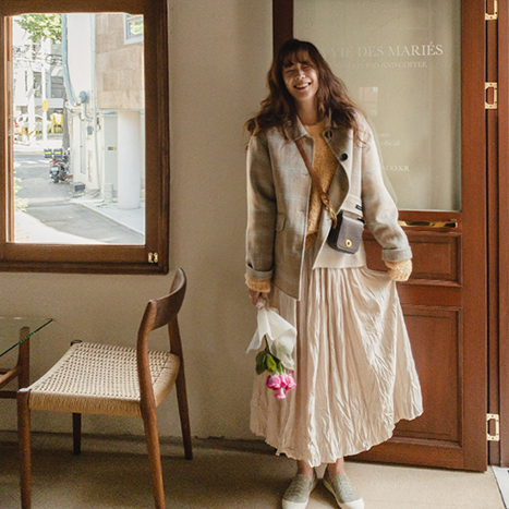 leelin-[로렌체크 핸드메이드 울 자켓 [size:F(55~66)] ]♡韓國女裝外套
