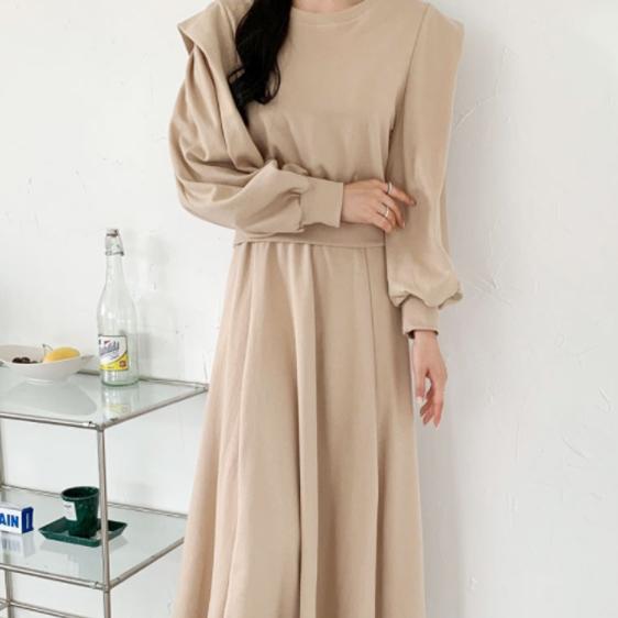 sonyunara-늘씬투피스 퍼프맨투맨 플레어 스커트 세트(set860)♡韓國女裝套裝