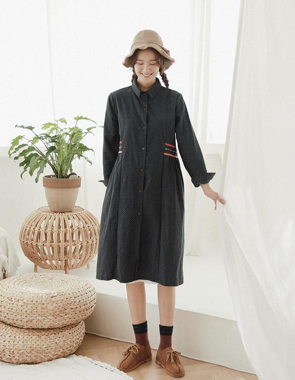 goroke-[보헤미안 띠 셔츠원피스]♡韓國女裝連身裙