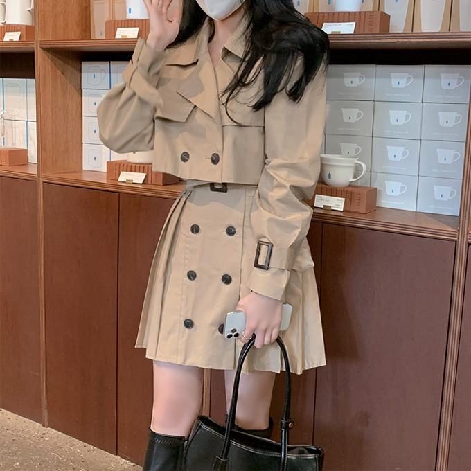 henique-롤리롤리 트렌치 어깨 패드 크롭 자켓 미니 스커트 투피스 세트 별도구매 (베이지/블랙/화이트)♡韓國女裝套裝