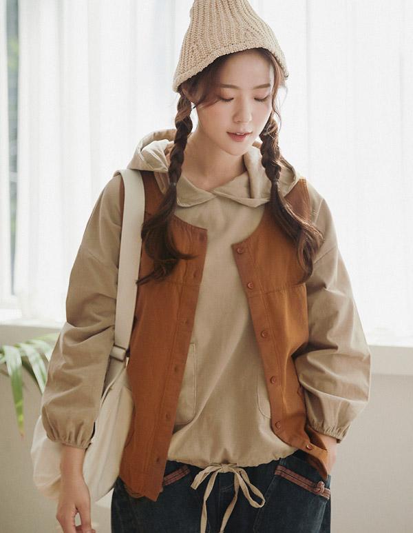 goroke-[패치 면조끼*2c]♡韓國女裝外套
