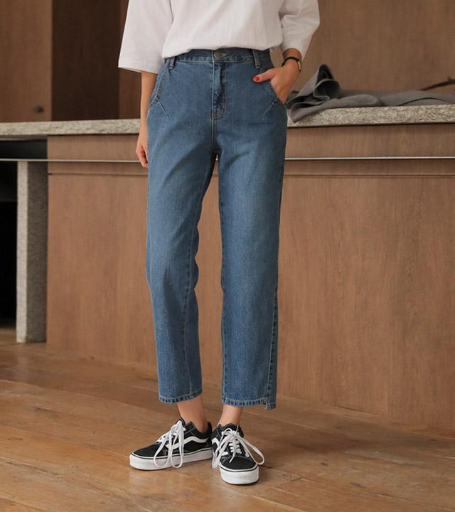 roompacker-룸페커 [다트 언발 하프밴딩 데님팬츠]♡韓國女裝褲