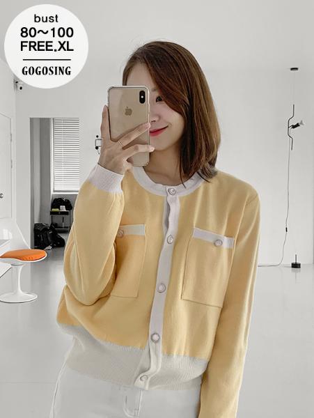ggsing-[6일9시까지9%할인]앤틱 골드링 배색 가디건 (12게이지2합,배색,진주,가둘레)♡韓國女裝外套