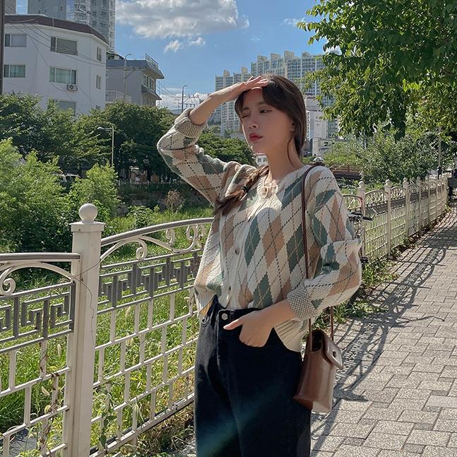 sonyunara-포슬 아가일 라운드넥 니트 가디건♡韓國女裝外套