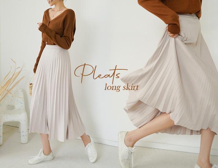 pinksisly-시나몬 플리츠 롱 스커트♡韓國女裝褲