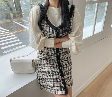 white-fox-[페미닌트위드뷔스티에원피스]♡韓國女裝連身裙