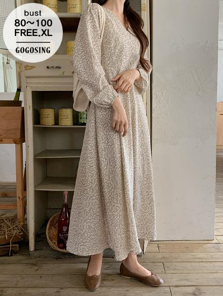 ggsing-[6일9시까지9%할인]브이넥포레스트OPS (롱,퍼프,플레어,가둘레)♡韓國女裝連身裙