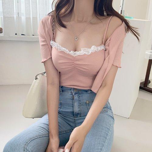 jnroh-히나 레이스 셔링 골지 끈나시 가디건 세트 (아이보리,핑크,블랙)♡韓國女裝上衣套裝