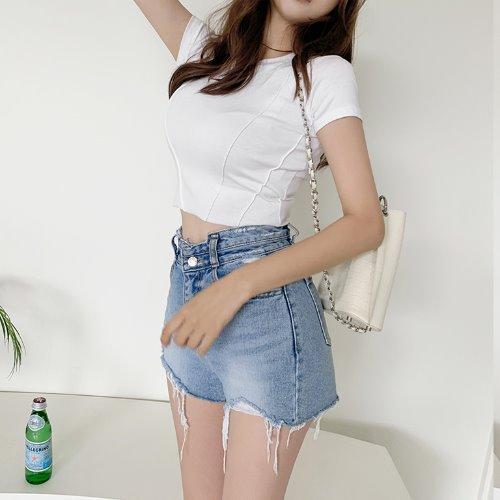 jnroh-듀즈 핀턱 크롭 반팔 티셔츠 (아이보리,핑크,블랙)♡韓國女裝上衣