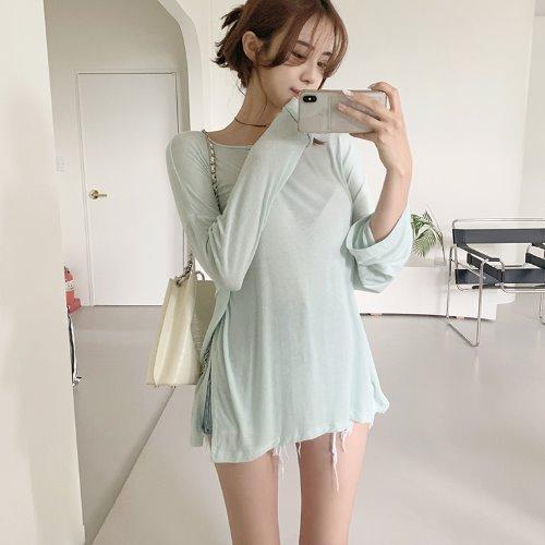 jnroh-렌비 루즈핏 찰랑 트임 롱 티셔츠 (아이보리,민트,그레이,블랙)♡韓國女裝上衣