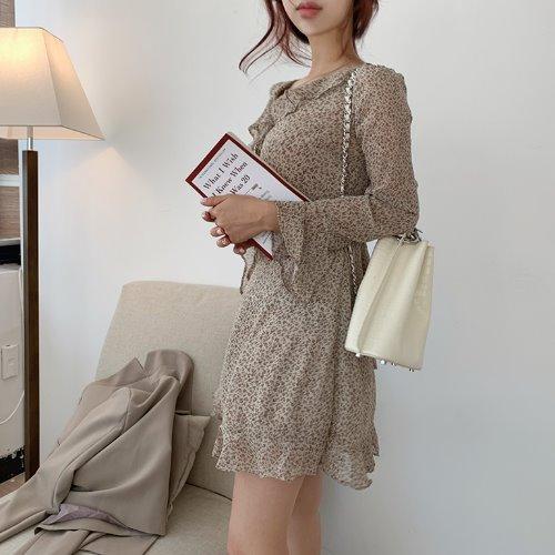 jnroh-몬티 잔꽃 플라워 브이랩 프릴 쉬폰 원피스(베이지,브라운,블랙)♡韓國女裝連身裙