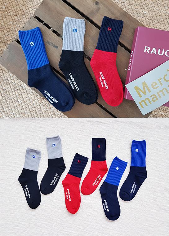 styleggom-로고자수 3종세트♡(3對裝)童裝襪子