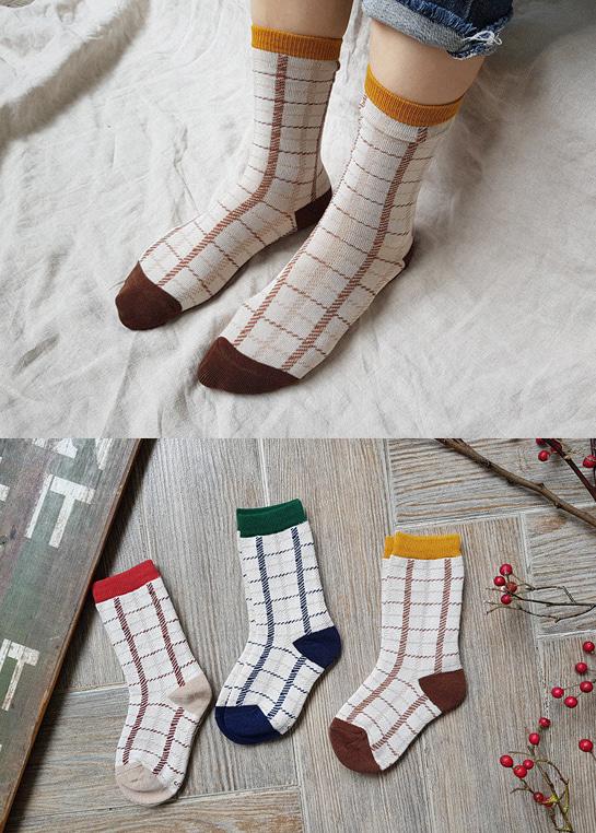 styleggom-폴링체크 3종세트♡(3對裝)童裝襪子