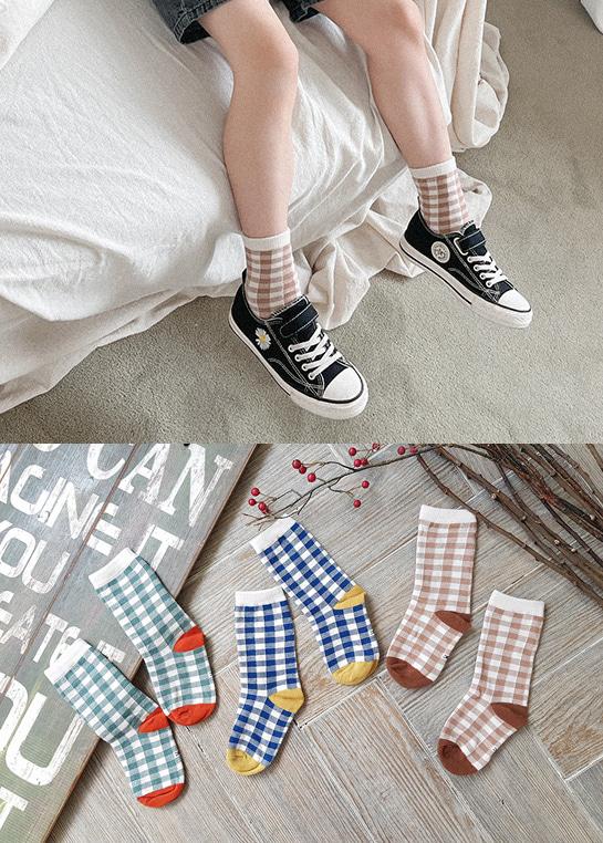 styleggom-모던체크 3종세트♡(3對裝)童裝襪子