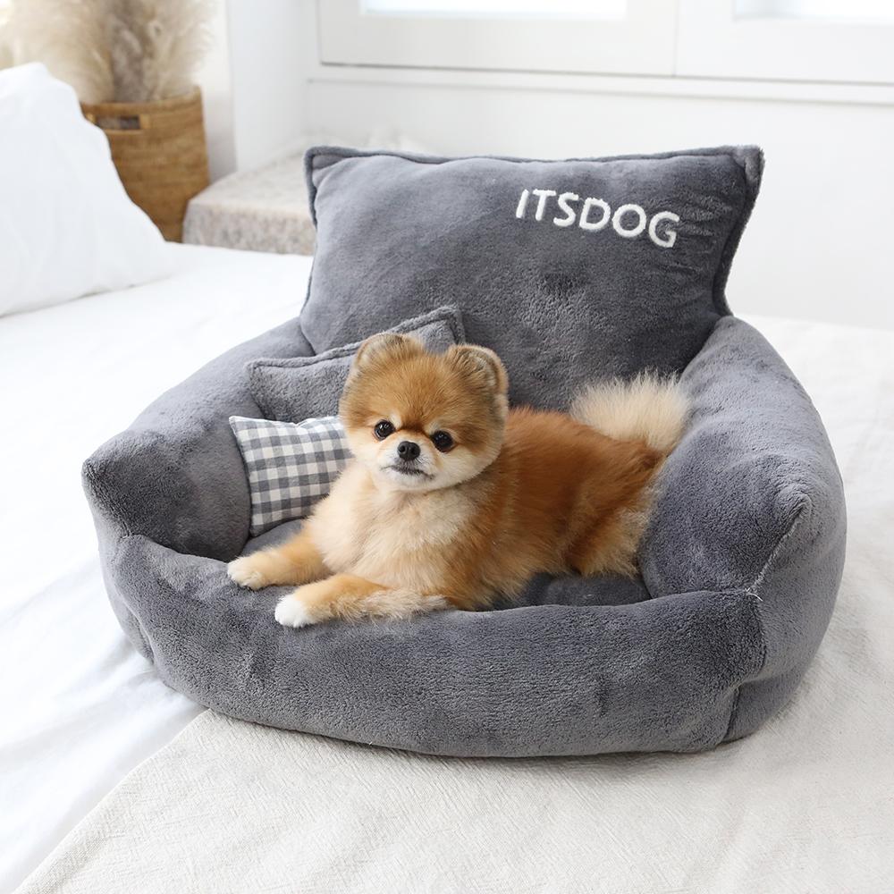 itsdog-[스너글 극세사 사각 베드 (그레이)]♡寵物生活用品